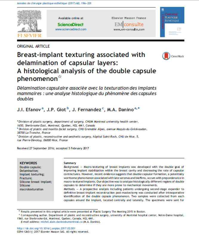 Breast Implant texturing associated with delamination of capsular layers – a histological analysis of the double capsule phenomenon