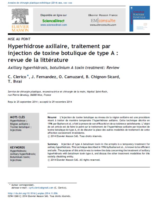 Hyperhidrose axillaire, traitement par injection de toxine botulique de type A – revue de la littérature
