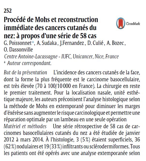 Procédé de Mohs et reconstruction immédiate des cancers cutanés du nez